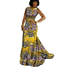 The complete pictures of latest ankara long gown styles of 2018 you've been searching for. These long ankara gown styles of 2018 are beautiful African Print Dress Designs, African Print Dresses, African Fashion Dresses, African Dress, African Attire, African Wear, African Women, Ankara Long Gown Styles, Ankara Styles For Women