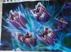 Finished Diamond Painting, Fringed Purple Tulips, Partial Mosaic, Round Rhinestones on Canvas by TheBlushinRose on Etsy, 45 Purple Tulips, Canvas Board, New Crafts, Black Accents, Shades Of Purple, Different Colors, Rhinestones, Mosaic, Bloom