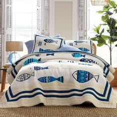 Bedding Shop, Quilt Bedding, Coral Bedding, Fish Quilt, Embroidered Quilts, Applique Quilts, The Company Store, Biscuit, Mattress Pad
