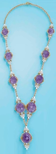 AN ANTIQUE AMETHYST AND ENAMEL NECKLACE, CIRCA 1900. Designed as nine briolette-cut amethysts each within a gold scrollwork frame with white enamel palmette-motif finials to the gold link spacers and back. #antique #necklace