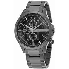 Armani Exchange Black Dial Chronograph Unisex Watch ($119) ❤ liked on Polyvore featuring jewelry, watches, water resistant watches, chronograph watches, armani exchange watches, stainless steel wrist watch and analog watches