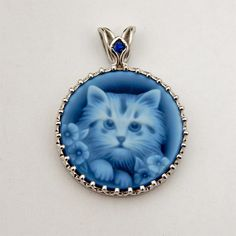 White Gold Sapphire & Black Agate Kitty Cat Cameo Pendant