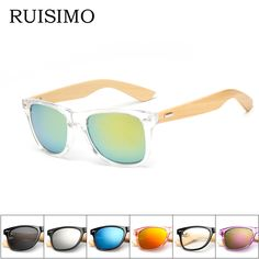 aa6e80c07 16 color Bamboo Sunglasses Men Wooden Sunglasses Women Brand Designer  Mirror Original Wood Sun Glasses Oculos
