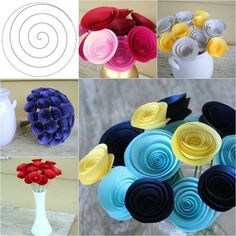 Paper Flowers in Blue and Yellow; Modern Centerpiece with Medium-Size Paper Flowers; Hostess Gift Paper flowers from Etsy … Paper Flower Tutorial, Paper Flowers Diy, Paper Roses, Handmade Flowers, Flower Crafts, Diy And Crafts, Crafts For Kids, Paper Crafts, Modern Centerpieces