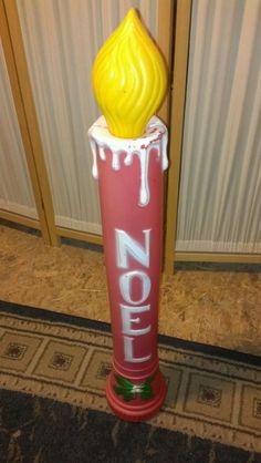 "Vtg Union Plastics 36"" Noel Red Candle Blow Mold Light Lawn Yard Decor Christmas 