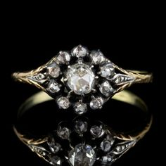 A stunning Antique Georgian cluster ring from the turn of the Century set with a dazzling array of glistening Rose cut Diamonds which were extremely popular during the time and named after their resemblance to a Rose bud. Antique Diamond Rings, Antique Engagement Rings, Diamond Cluster Ring, Rose Cut Diamond, Jewelry Art, Antique Jewelry, Regency Era, Perfect Engagement Ring, Georgian