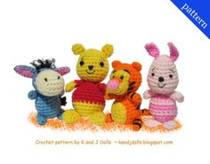 Crochet pattern for Winnie the pooh characters. I really like Eeyore!