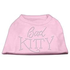 Mirage cat Products 16-Inch Bad Kitty Rhinestud Print Shirt for cats, X-Large, Light Pink * Startling review available here  : Cat Apparel