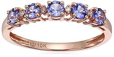10k Rose Gold Tanzanite and Diamond Accented Stackable Ring Size 7 -- Be sure to check out this awesome product.