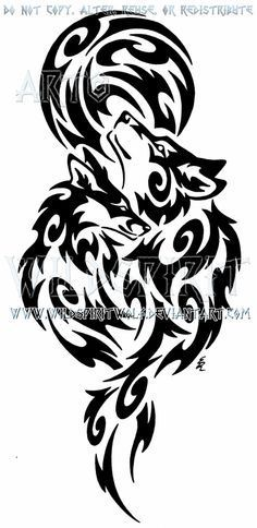 This is 's completed commission of a nuzzling wolf and fox beneath the full moon. I do apologize for the obnoxious watermarks but they have been pu. Wolf And Fox + Full Moon Tribal Design Wolf Tattoo Back, Small Wolf Tattoo, Wolf Tattoo Sleeve, Tattoo Wolf, Wolf Tattoo Tribal, Tribal Animal Tattoos, Chest Tattoo, Sleeve Tattoos, Geometric Tattoos