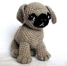 adorable crochet Pug pattern on Etsy.