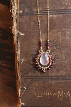 b e s o // rose quartz and garnet necklace // 14k gold filled necklace by MadrinaSofia on Etsy https://www.etsy.com/listing/566777846/b-e-s-o-rose-quartz-and-garnet-necklace