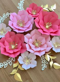 Paper flowers set of 5 paper flowers for baby nursery birthday party decor baby shower decor photo backdrop decorBest 11 DIY paper peonies with free printable template. [how to make paper flowers, DIY paper flower template, easy paper flower tutorial Paper Flowers Craft, Large Paper Flowers, Paper Flower Wall, Paper Flower Backdrop, Giant Paper Flowers, Paper Roses, Flower Crafts, Diy Flowers, Paper Crafts