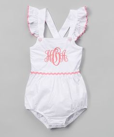 Love this White Pink Monogram Bubble Romper - Infant Toddler on Infant Toddler, Toddler Girl, Baby Kids, Outfits Niños, Kids Outfits, Baby Girl Fashion, Kids Fashion, Everything Baby, Future Baby