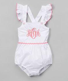 946f041d38e4 Love this White  amp  Pink Monogram Bubble Romper - Infant  amp  Toddler on