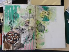 Sketchbook work looking at nature and trying out different materials (Ms Holden)