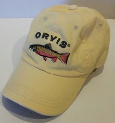 ce178ba67f3 ORVIS Baseball Hat Cap Trout Fish Embroidered YELLOW Fishing Cotton  ADJUSTABLE  Orvis  BaseballCap