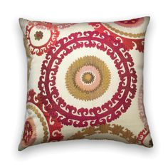 Suzani decorative pillow cover made with woven upholstery fabric in gorgeous shades fuchsia, cranberry, light pink, lime green, taupe, yellow and cream.