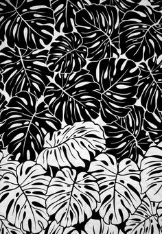 Monstera Leaf Print - black & white pattern; printed textile design