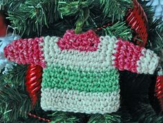 """Free pattern for """"Miniature Sweater Ornament""""...so cute!"""