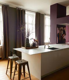 White & purple kitchen