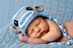 Children's Sock Monkey Blue and Grey Earflap Boys Crochet Hat