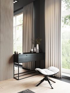 Contemporary vanity space. Chic draperies mirror the texture of the adjacent millwork, providing balance.