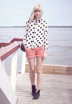 all you need is a polka dot blouse. the rest is easy! (super cute with bright jeans or a skirt as well!)