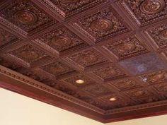 Faux Tin drop in ceiling tile   VC02 Antique Copper