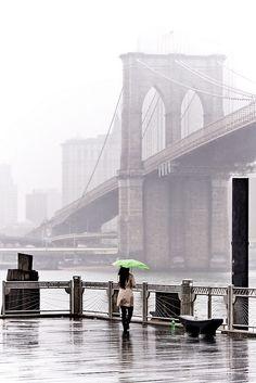 NYC. Fog and rain at Brooklyn Bridge