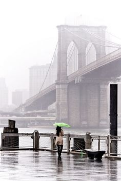 Fog and rain at Brooklyn Bridge NYC