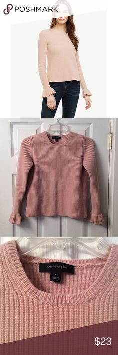 "Ann Taylor wool/cashmere sweater. NWOT Ann Taylor Medium but see measurements:  20"" in length 21"" sleeves.  30"" bust My bra size is 32B and this fit me but barely covered my belly button.  I'm 5'11"" though with a long torso.  But this would best fit an XS/Xsmall. Very soft with no flaws.  Bell sleeves.  95% wool 5% cashmere   Blush pink color. Ann Taylor Sweaters"