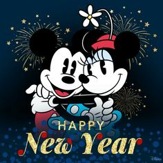 Happy New year con minnie mouse y Mickey mousse