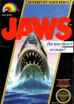 """The box cover for """"Jaws,"""" released by LJN for the Nintendo Entertainment System in 1987"""
