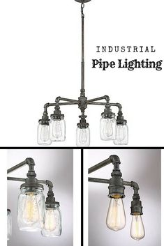 Quoizel- Squire Ceiling Light Fixtures Upgrade your vintage or industrial style home with Squire Ceiling Light Fixtures from Quoizel, which appear to be assembled from old plumbing pipes and mason jars. Even the glass jar fitters are detailed with antique