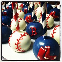 .@Kerri Cupcake Instagram photos | Webstagram Red Sox Cakepops. Boston. yum. take me out to the ball game. peanuts. cracker jacks. beer. party. baseball party. happy birthday. chocolate