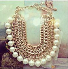 Entre Lazos y Vestidos: Collar cadenas y perlas