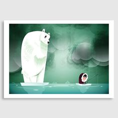 Arctic Fishing Print by Cinzah Seekayem