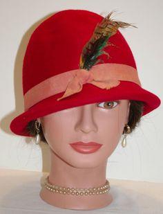 Vintage Red Cloche Hat