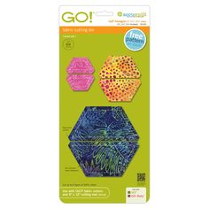"""Are you looking for a die that lets you work at different scales?  With three sizes of half hexagons, you can tackle all kinds of projects. The seam allowance is included in these half hexies for easy and accurate piecing. Coordinates with GO! Hexagon-1"""", 1 1/2"""", 2 1/2"""" Sides (55011) and GO! Equilateral Triangles (55079). Compatible with these fabric cutters:GO! BabyGO!GO! BigStudio**Must use with GO! Die Adapter"""