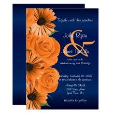 Blue with Orange Rose & Daisy Wedding Invitations Orange Wedding Colors, Burnt Orange Weddings, Burgundy Wedding, Blue Weddings, Affordable Wedding Invitations, Blue Wedding Invitations, Custom Invitations, Invites, Daisy Wedding