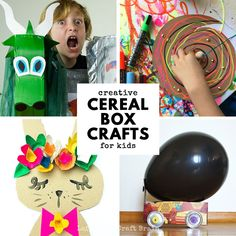 Super Creative Cereal Box Crafts and Projects for Kids Gather up all those empty cereal boxes! Here's a mega list of Super Creative Cereal Box Crafts for Kids. Inside this creative list, you'll find cereal box cars, flowers, pretend play props, art Cereal Box Craft For Kids, Fun Crafts For Kids, Projects For Kids, Crafts To Make, Art For Kids, Kids Cereal, Art Projects, Cereal Box Crafts, Bus Crafts