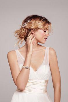 Formal Hollywood Glam Modest Ivory A-line Anne Barge Empire Floor Sleeveless Spring Summer V-neck Wedding Dresses Photos & Pictures - WeddingWire.com