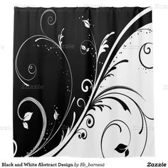 Black and White Abstract Design Shower Curtain Stencil Wall Art, Diy Wall Painting, Textiles, Custom Shower Curtains, Black And White Abstract, Paint Designs, Dining Room, Bathroom, Pattern