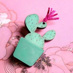 Cactus Brooch with Pink thread   Cactus Flower by vadjutka on Etsy