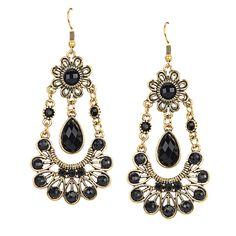 Stone Embellishment Drop Earrings in Black - US$3.95 -YOINS
