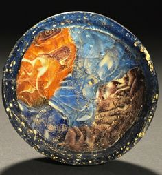 ROMAN MOSAIC GLASS MINIATURE BOWL Of sections of mavered blue and agate glass with a blue glass rim. 1st Century AD