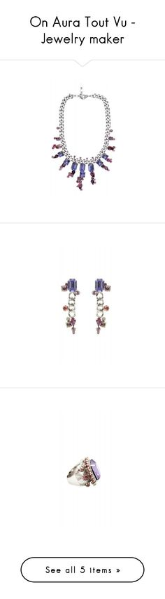"""""""On Aura Tout Vu - Jewelry maker"""" by kreateurs ❤ liked on Polyvore featuring jewelry, necklaces, purple jewelry, purple necklace, purple jewellery, hand made jewelry, handmade jewelry, earrings, purple crystal earrings and purple crystal jewelry"""