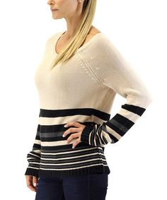 Taupe & Black Stripe Sweater by Suss Nature Knits