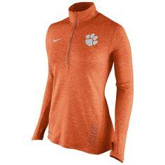 Women's Nike Orange Clemson Tigers Stadium Element 1/2 Zip Performance Jacket